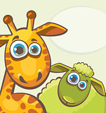 Giraffe and sheep.