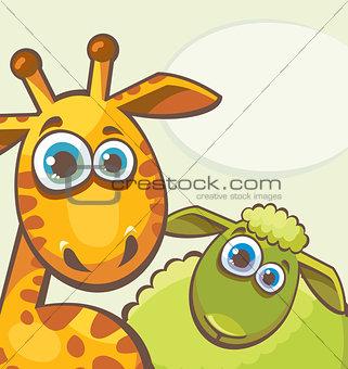 Giraffe and sheep.