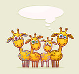 Cartoon giraffes family.