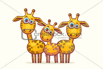 Cartoon giraffes. Animal family.