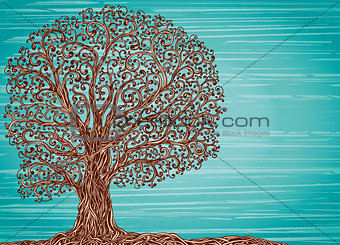 Old twisted grafic tree