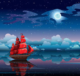 Night seascape with sailboat and starry sky.