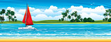 Nature tropical landscape with yacht