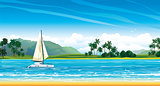 Tropical landscape with yacht