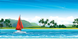 Yacht with res sail and tropical landscape.