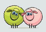 Two cartoon sheeps.