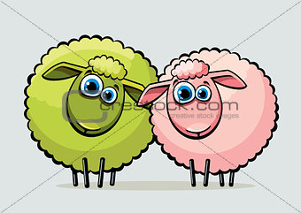 Two cartoon sheeps.