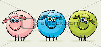 Three cartoon sheeps.
