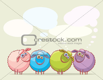 Cartoon sheeps.
