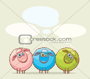 Three cartoon sheeps.