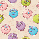 Seamless pattern with sheeps.
