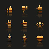 Golden social icons set