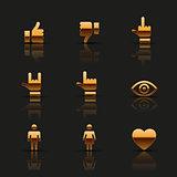 Golden social icons set