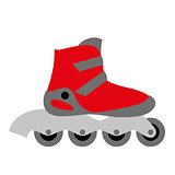 red inline roller skate boot