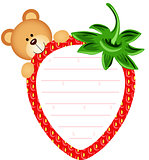 Label with Teddy Bear Eating Strawberry