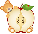 Teddy Bear Eating Apple Sliced