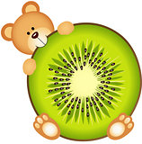 Teddy Bear Eating Kiwi Slice