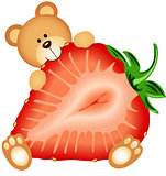 Teddy Bear Eating Strawberry Sliced