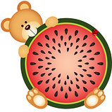 Teddy Bear Eating Watermelon Sliced