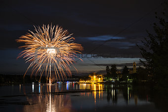 Fireworks on the riverfront Ticino, Sesto Calende - Varese