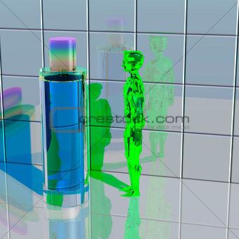 Green alien looks at a bottle