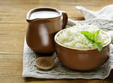 fresh dairy curd in a ceramic bowl, rustic style