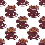 Seamless pattern of cups of hot cappuccino