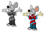 Happy cartoon mouse characters in clothes