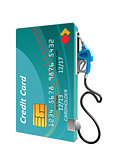 Credit card with petrol or gasoline pump