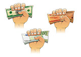 Hand grasping money with dollar, euro and pound banknotes