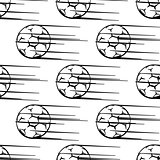 Seamless pattern of soccer balls or footballs with motion trail