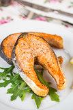 Baked salmon steak