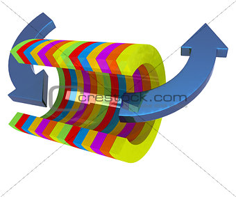 3d colorful abstract cut pipe and arrows