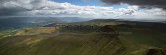 Landscape panorama of Cribyn summit from Pen-y-Fan mountain