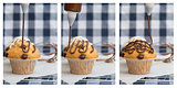 Triptych of  frosting being put onto home made chocolate muffin