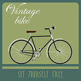 Vintage card of black bicycle in retro style.