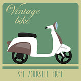 Vintage card of white scooter in retro style.