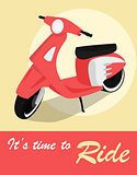 Vintage card of scooter in retro style.