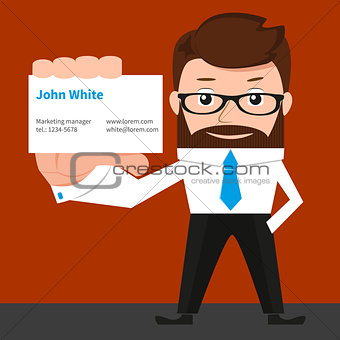 Lucky businessman is presenting a business card.