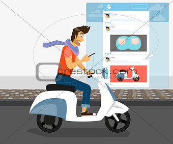 Handsome guy is riding white bike and checking his account in social networking