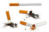set of cigarettes isolated on white background