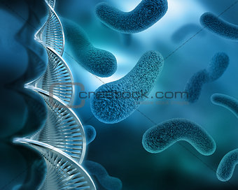 Abstract virus background with DNA strand