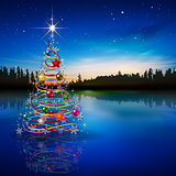 Abstract blue celebration greeting with Christmas tree