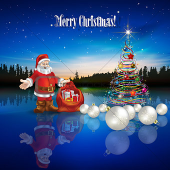 Abstract Christmas greeting with Santa Claus and gifts
