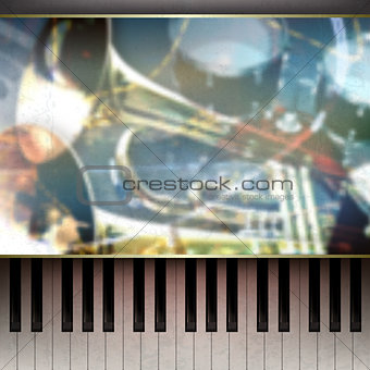 abstract grunge background with piano on brown
