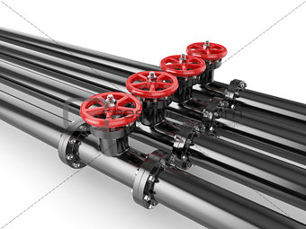 Black oil pipes with red valve