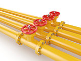 Orange oil pipes with red valve