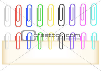 Colorful paper clips collection