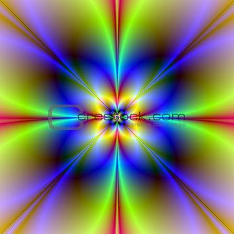 Four Petal Flower in Neon Colors