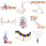 Multicolour  musical notes staff set